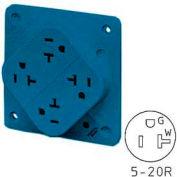 Bryant 21254HSA QUADPLEX®Receptacle, 20A, 125V, Blue, Surge Supp
