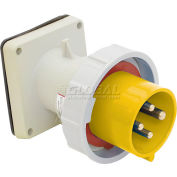 Bryant 316B4W Inlet, 2 Pole, 3 Wire, 16A, 100-130V AC, Yellow