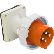 Bryant 420B12W Inlet, 3 Pole, 4 Wire, 20A, 125/250V AC, Orange