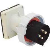 Bryant 420B5W Inlet, 3 Pole, 4 Wire, 20A, 3ph 600V AC, Black