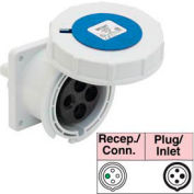 Bryant 430R9W Receptacle, 3 Pole, 4 Wire, 30A, 3ph 250V AC, Blue