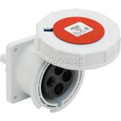 Bryant 432R3W Receptacle, 3 Pole, 4 Wire, 32A, 380V AC-50Hz, 440V AC-60Hz, Red