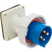 Bryant 460B9W Inlet, 3 Pole, 4 Wire, 60A, 3ph 250V AC, Blue