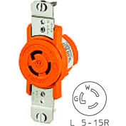 Bryant 4710IG TECHSPEC® Single Receptacle, L5-15R, 15A, 125V, Orange