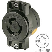 "Bryant 4713BRY TECHSPEC® Single Receptacle;175"" Ctr, L5-15, 15A, 125V, Black"