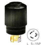 Bryant 4721NPB TECHSPEC® Plug, L5-15, 15A, 125V, Black