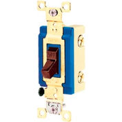 Bryant 4801B Industrial Grade Toggle Switch, Single Pole, 15A, 120/277V AC, Brown