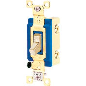 Bryant 4801BI Industrial Grade Toggle Switch, Single Pole, 15A, 120/277V AC, Ivory