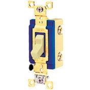 Bryant 4803GLI Toggle Switch, Three Way, 15A, 120/277V AC, Glow Handle, Ivory
