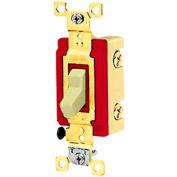 Bryant 4903GLI Toggle Switch, Three Way, 20A, 120/277V AC, Glow Handle, Ivory