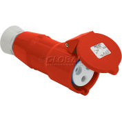 Bryant 516P6S Splashproof Plug, 4 Pole, 5 Wire, 16A, 200/346, 240/415V AC, Red