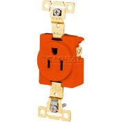 Bryant 5261IG TECHSPEC® Industrial Grade Single Receptacle, 15A, 125V, Orange