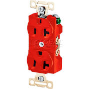 Bryant 5342RED Heavy-Duty Duplex Receptacle, 20A, 125V, Red, elf Ground