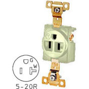 Bryant 5361I TECHSPEC® Industrial Grade Single Receptacle, 20A, 125V, Ivory, Self Ground