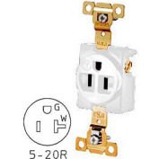 Bryant 5361W TECHSPEC® Industrial Grade Single Receptacle, 20A, 125V, White, Self Ground