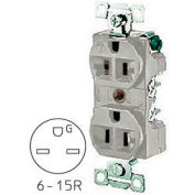 Bryant 5661GRY TECHSPEC® Industrial Grade Single Receptacle, 15A, 250V, Gray