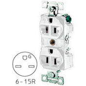 Bryant 5661W TECHSPEC® Industrial Grade Single Receptacle, 15A, 250V, White, Self Ground
