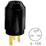 Bryant 5666B TECHSPEC® Straight Blade Plug, 15A, 250V, Black