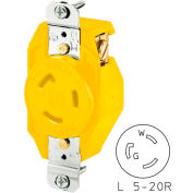 Bryant 70520FRCR TECHSPEC® Single Receptacle, L5-20, 20A, 125V, Yellow