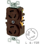Bryant 70615DR TECHSPEC® Duplex Receptacle, L6-15, 15A, 250V, Brown