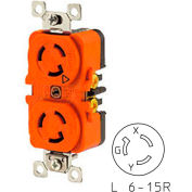 Bryant 70615DRIG TECHSPEC® Duplex Receptacle, L6-15, 15A, 250V, Orange