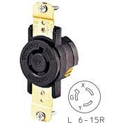 Bryant 70615FR TECHSPEC® Single Receptacle, L6-15, 15A, 250V, Black