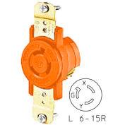 Bryant 70615IG TECHSPEC® Single Receptacle, L6-15, 15A, 250V, Orange