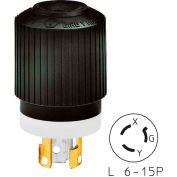 Bryant 70615NP TECHSPEC® Plug, L6-15, 15A, 250V, Black/White