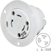Bryant 70630ER TECHSPEC® Receptacle, L6-30, 30A, 250V, White