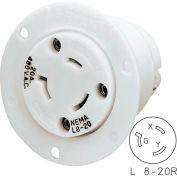 Bryant 70820ER TECHSPEC® Single Receptacle, L8-20, 20A, 480V AC, White