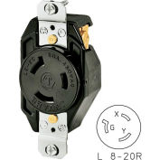 Bryant 70820FR TECHSPEC® Single Receptacle, L8-20, 20A, 480V AC, Black