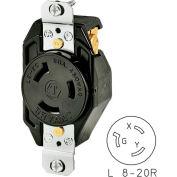 Bryant 70820FR TECHSPEC® Single Receptacle, L8-20, 20A, 480V AC, Black