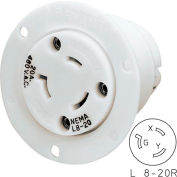 Bryant 70920ER TECHSPEC® Single Receptacle, L8-20, 20A, 600V AC, White