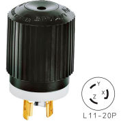 Bryant 71120NP TECHSPEC® Plug, L11-20, 20A, 3ph 250V AC, Black/White
