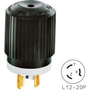 Bryant 71220NP TECHSPEC® Plug, L12-20, 20A, 3ph 480V AC, Black/White