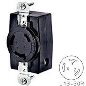 Bryant 71330FR TECHSPEC® Receptacle, L13-30, 30A, 3ph 600V AC, Black