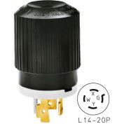 Bryant 71420NP TECHSPEC® Plug, L14-20, 20A, 125/250V, Black/White