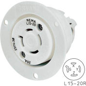 Bryant 71520ER TECHSPEC® Receptacle, L15-20, 20A, 3ph 250V AC, White