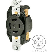 Bryant 71520FR TECHSPEC® Receptacle, L15-20, 20A, 3ph 250V AC, Black