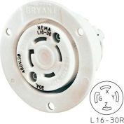 Bryant 71630ER TECHSPEC® Receptacle, L16-30, 30A, 3ph 480V AC, White