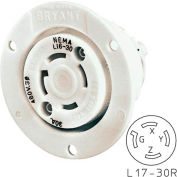 Bryant 71730ER TECHSPEC® Receptacle, L17-30R, 30A, 3ph 600V AC, White