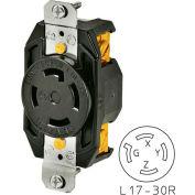 Bryant 71730FR TECHSPEC® Receptacle, L17-30, 30A, 3ph 600V AC, Black