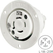Bryant 71820ER TECHSPEC® Receptacle, L18-20, 20A, 3ph 120/208V AC, White