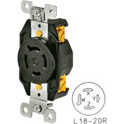 Bryant 71820FR TECHSPEC® Receptacle, L18-20, 20A, 3ph 120/208V AC, Black