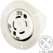 Bryant 71830ER TECHSPEC® Receptacle, L18-30, 30A, 3ph 120/208V AC, White