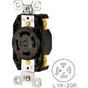 Bryant 71920FR TECHSPEC® Receptacle, L19-20, 20A, 3ph 277/480V AC, Black