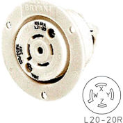 Bryant 72020ER TECHSPEC® Receptacle, L20-20, 20A, 3ph 347/600V AC, White