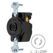 Bryant 7210B Locking Device Receptacle, L2-20, 15A, 250V, Black