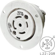 Bryant 72220ER TECHSPEC® Receptacle, L22-20, 20A, 3ph 277/480V AC, White
