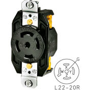 Bryant 72220FR TECHSPEC® Receptacle, L22-20, 20A, 3ph 277/480V AC, Black